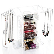Jewellery box made of acrylic jewellery storage with 6 compartments and 2 side doors with chain hook cosmetics Storage box from the brand MyBeautyworld24