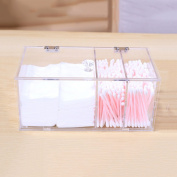 Jewellery Cotton Pad Makeup Cotton Box Cotton Swabs Case Toothpick Storage Box Storage Case High Quality Dust Proof Clean Acrylic with 3 Compartments