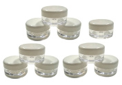 DMtse 5ml Empty Plastic Cosmetic Jars x 10 CLEAR with WHITE Lids for Creams/Sample/Make-Up/Glitter Storage