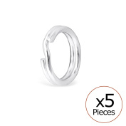 Pack of 5 Split Ring Sterling Silver 925/000 Rhodium-Plated – 6.5 mm