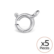 Pack of 5 Spring In 925/000 Rhodium-Plated Silver Ring – 5 mm