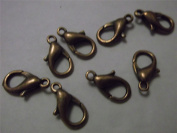 50 x Copper Tone Lobster Parrot Clasps Claws 14mm Findings Connectors for Jewellery Making, Chains, Crafts.