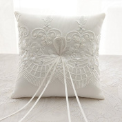 SwirlColor Cream White Graceful Wedding Ring Pillow With Handmade Embroidery,19cm Square