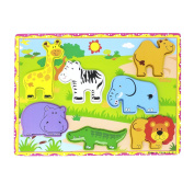Lewo Wooden Preschool Learning and Educational Toys Wild Animals Chunky Puzzle