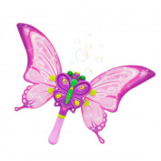 Cartoon Purple Butterfly Bubble Sticks Automatic Bubble Maker Machine Girls Party Battery Operated W/ Light Music Outdoor Toy