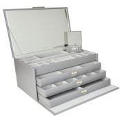 DULWICH DESIGNS Extra Large Grey Premium Bonded Leather Jewellery Box