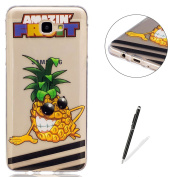 Samsung Galaxy J7 Prime Transparent case [with Free Black Touch Stylus],KaseHom Flexible TPU Gel Protective Skin Shock Absorption Technology Anti-scratching Rubber Bumper Pineapple Cartoon Printing Painting Design See Through Crystal Clear Silicone Cov ..