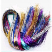 Homgaty 200 Strands Hair Tinsel Sparkling Hair Extention Strands For Women's Accessories Multi Colour