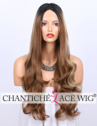 Chantiche Three Tone Ombre Wig for Women Brown Wig Highlight with Blonde Stripes Black Root, Long Wavy Synthetic Lace Front Wigs Heat Resistant 60cm