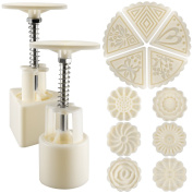 2 Sets Mooncake Mould Press 50g with 11 Stamps, SENHAI Flower and Triangle Shape Decoration Tools for Baking DIY Cookie - White