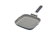 KitchenCraft Masterclass Non-Stick Induction-Safe Griddle Pan with Folding Handle, Black, 20 cm