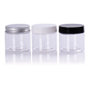 HugeStore 5 Pcs 50 Gramme 50ML Clear Plastic Cosmetic Sample Creams Storage Containers Jar Pots with Lids for Travel Black