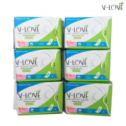 VLOVE Ultra Thin Anion Mini Pantyliners Cotton Without Wings-6Packs
