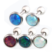 5 PCS Assorted Colourful Fashion Synthetic Opal Bar Stud Earrings Tragus Hypoallergenic Piercing Jewellery Opal Size 4mm