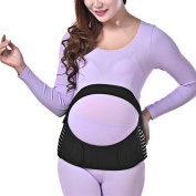 sourcingmap® Black L Size Maternity Antepartum Belt Pregnant Women Abdominal Support Waist Belly Band Back Brace