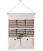 iTemer Multi-layer Linen/Cotton Fabric Hanging Closet Organiser 8 Pockets Hanging Storage Bag Case for Home Wall and Door