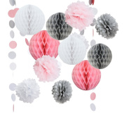 14PCS Pink Grey White Decorative Party Paper Pack Pompoms Flower Honeycomb Ball Circle Paper Garland Girl Birthday Baby Shower Wedding Decoration Favour