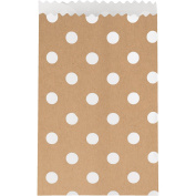 Creative Converting 60 Count Paper Treat Bags with Polka Dots, Small, Kraft Brown