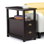 Topeakmart Chairside Table with 2 Drawer and Shelf Narrow Nightstand for Living Room