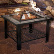 Fire Pit Set, Wood Burning Pit - Includes Screen, Cover and Log Poker - Great for Outdoor and Patio, 80cm Square Marble Tile Firepit by Pure Garden