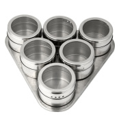 erthome Home Kitchen 6PCS Stainless Steel Magnetic Spice Storage Jar Tins Container With Rack Holder