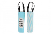 """Assorted Slogans Cheeky Bubbles Canvas Wine Bottle Gift Bag - Bags - """"Save Water Drink Wine"""""""