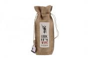 "Assorted Slogans Jute Wine Bottle Gift Bag - Bags - Hessian Natural - ""Look it's Wine O'Clock"""