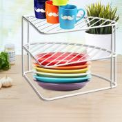 FunkyBuys® 3 Tier White Steel Corner Kitchen Plates Rack Tidy Cupboard Organiser Storage Space Saver Shelf Dryer- 23x34x25 cm-