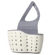 Soft Hanging Kitchen Sink Drain Sponge Brush Soap Holder Bathroom Storage Basket Organiser Bag Rack Beige