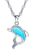 Yumilok Jewellery 925 Sterling Silver Blue Opal Lovely Dolphin Pendant Necklace for Women/Children