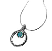 Classic SHABLOOL ISRAEL Didae Handcrafted Opal Sterling Silver 925 Necklace