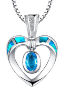 Sterling Silver Open Heart W. Blue and Green Fire Opal Inlay and Cubic Zirconia Pendant Necklace - SC094n4