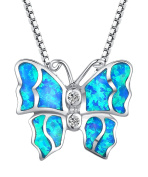 Sterling Silver Butterfly W. Blue and Green Fire Opal Inlay and Cubic Zirconia Pendant Necklace - SC078n4