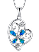 Sterling Silver Butterfly Flower Heart W. Created Blue and Green Fire Opal Inlay and Cubic Zirconia Pendant Necklace Come with 1mm Italian Box Chain SC020N46
