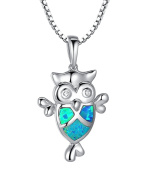 Sterling Silver Owl W. Created Blue and Green Fire Opal Inlay and Cubic Zirconia Eye Pendant Necklace Come with 1mm Italian Box Chain SC031N46