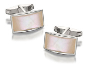 F.Hinds Mens Jewellery Sterling Silver Mother Of Pearl Rectangular Cufflinks