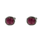 Ruby Cufflink Oxidised Silver Champagne Diamonds