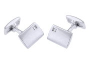Hoxton London Men's Sterling Silver and Diamond Rectangle Cufflinks