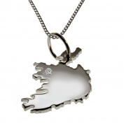 Ireland 50 CM Necklace Pendant with A brilliant 0,015ct your Wunschort in 925 Silver