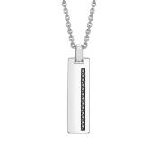 Hoxton London Men's Sterling Silver Black Sapphire Set Dog Tag Necklace 51-55 cm, Adjustable