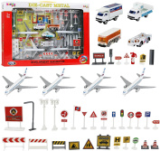 Kiddie Play Airport Playset with Toy Aeroplanes and Airport Play Vehicles and Accessories
