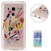 Samsung Galaxy J7 2016 Transparent case [with Free Screen Protector],KaseHom Flexible TPU Gel Protective Skin Shock Absorption Technology Anti-scratching Rubber Bumper Makeup Lipstick Printing Painting Design See Through Crystal Clear Silicone Cover fo ..