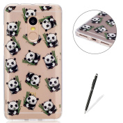 Xiaomi Redmi Note 4 Transparent case [with Free Black Touch Stylus],KaseHom Flexible TPU Gel Protective Skin Shock Absorption Technology Anti-scratching Rubber Bumper Cute Panda Printing Painting Design See Through Crystal Clear Silicone Cover for Xiao ..