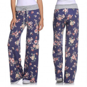 Paymenow Women Rose Floral Wide Leg Adjustable High Tie Waist Drawstring Pants