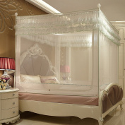 RAN Three-door Zipper Square Mosquito Nets Paint Steel Pipe Stent Princess Palace Mosquito Nets Have The End,White-C