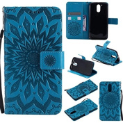 Moto G4 / G4 Plus Wallet Case,A-slim(TM) Beauty Fashion Sun Pattern Embossed PU Leather Magnetic Flip Cover Card Holders & Hand Strap Wallet Purse Cover Case for Motorola Moto G4 / G4 Plus - Blue