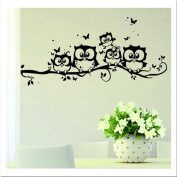GUAngqi Owl Tree Wall Stickers Removable Bedroom Living Room Background Decorative Wall Stickers