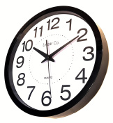 "Large Black and White Silent Wall Clock Non-ticking 12"" 30cm Large Numbers Easy to Read Modern Executive Decorative Practical Analogue Quartz Sweep Movement Round ."