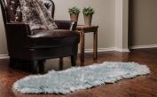 Chanasya Super Soft Faux Fur Fake Sheepskin Grey Sofa Couch Stool Casper Vanity Chair Cover Rug / Solid Shaggy Area Rugs For Living Bedroom Floor -Slate Blue Grey 0.6m x 1.8m