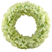 GTidea Spring Front Door Wreath Artificial Silk Hydrangea Flowers Garland Home Office Wedding Wall Decor 14 - 38cm Green